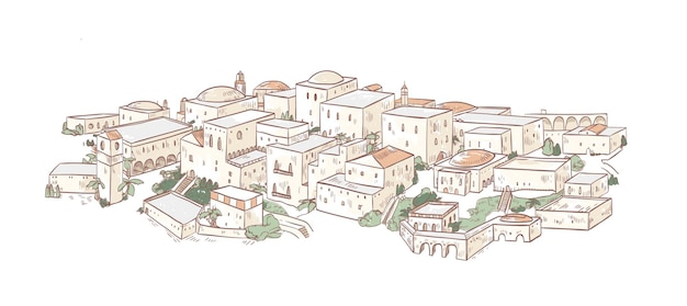 Elegant drawing of old city with beautiful buildings of arab architecture. panoramic view of streets of medina, baghdad or marrakesh