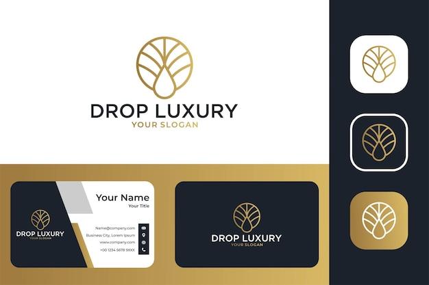 Elegant drop luxury line art logo design and business card