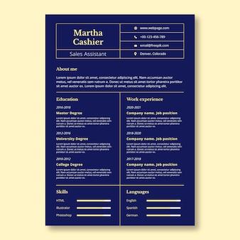 Elegante curriculum di vendita di cassiere in due tonalità
