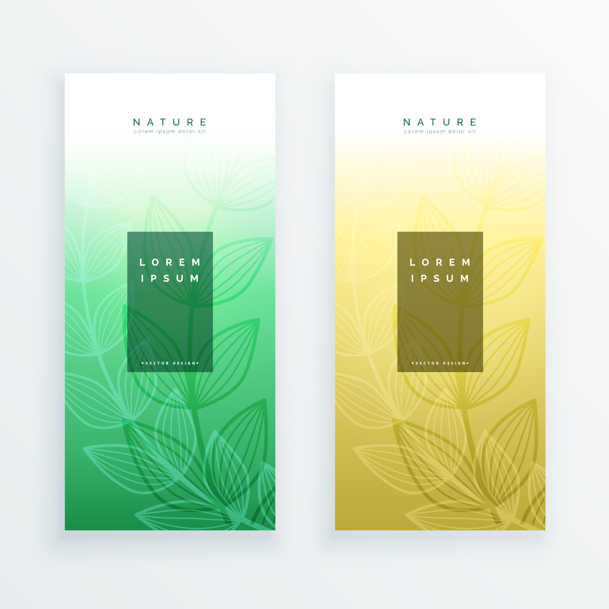 Elegant eco leaves vertical banners