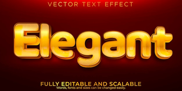 Elegant editable text effect, metallic and shiny text style. Free Vector