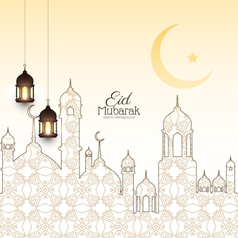 Elegant eid mubarak festival background with mosque design vector