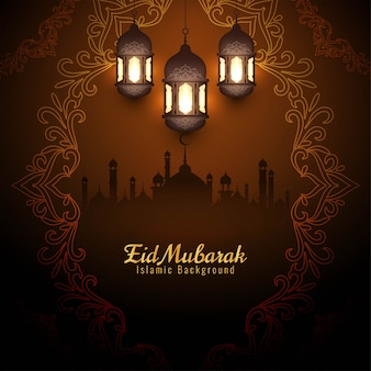 Elegant eid mubarak festival decorative brown background