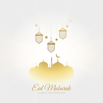Elegant eid mubarak festival greeting with lamps and mosque
