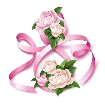 牡丹の花とエレガントな8番8リボン