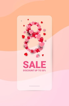 Elegant eight number shape womens day 8 march holiday celebration flyer or greeting card with hearts vertical illustration