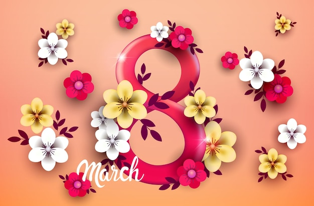Elegant eight number womens day 8 march holiday celebration banner flyer or greeting card with flowers horizontal illustration