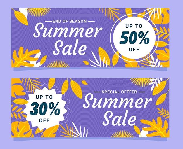 Элегантный конец сезона летняя распродажа баннер набор шаблонов с фиолетовыми и желтыми листьями