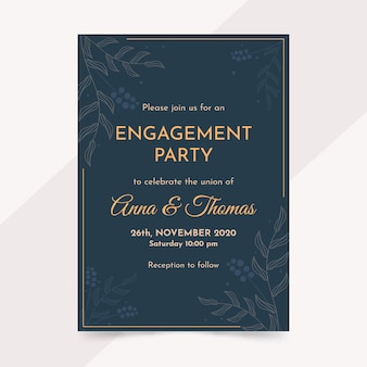 エレガントな婚約招待状テンプレート