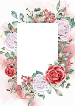 우아한 약혼 장미 수채화 초대장 템플릿 카드