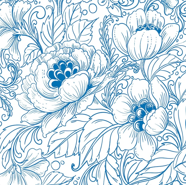 Elegant ethnic decorative blue floral pattern design
