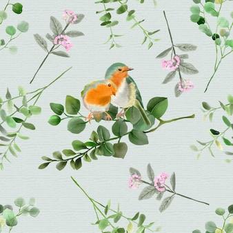 Elegant eucalyptus and bird watercolor seamless pattern