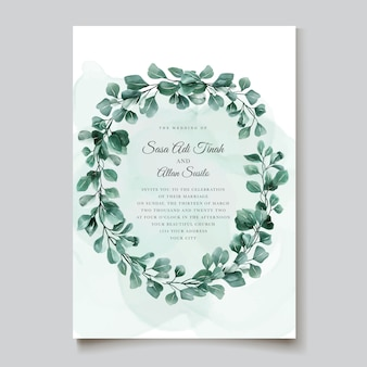 Elegant eucalyptus invitation card template