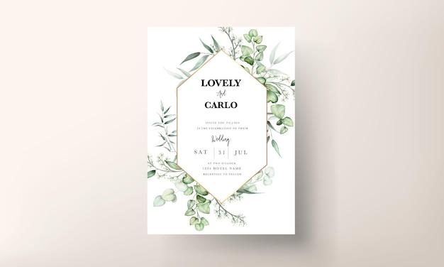 Elegant eucalyptus leaves watercolor wedding invitation card Free Vector