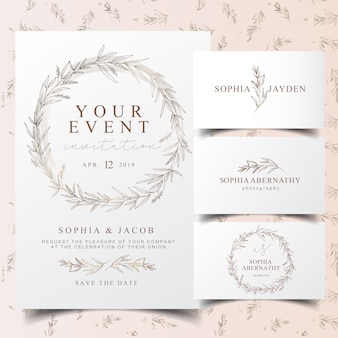 Elegant eucalyptus wreath invitation card and logo design