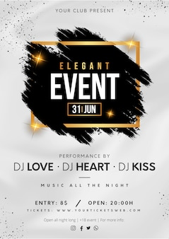 Elegant event poster with black splash