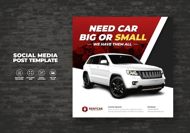 Elegant exclusive modern rent and buy car for social media post banner vector template