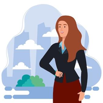 屋外イラストデザインのエレガントなエグゼクティブ女性実業家