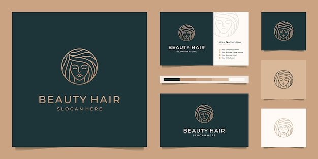 Elegant face woman hair salon gold gradient line art logo design and business card