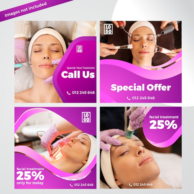 Elegant facial treatment banner template collection for social media
