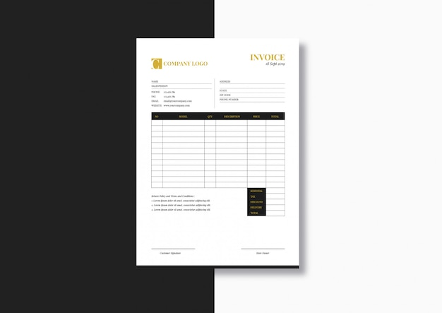 Elegant fashion minimalist invoice template