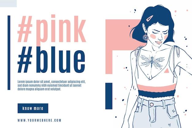 Design elegante banner di vendita di moda con una bella donna disegnata a mano bella
