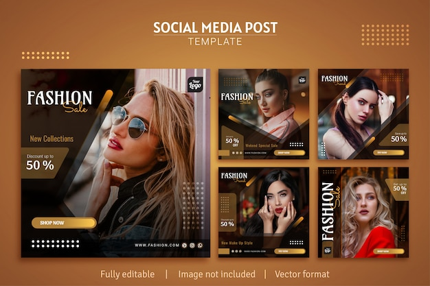 Elegant fashion sale social media post template design premium collection