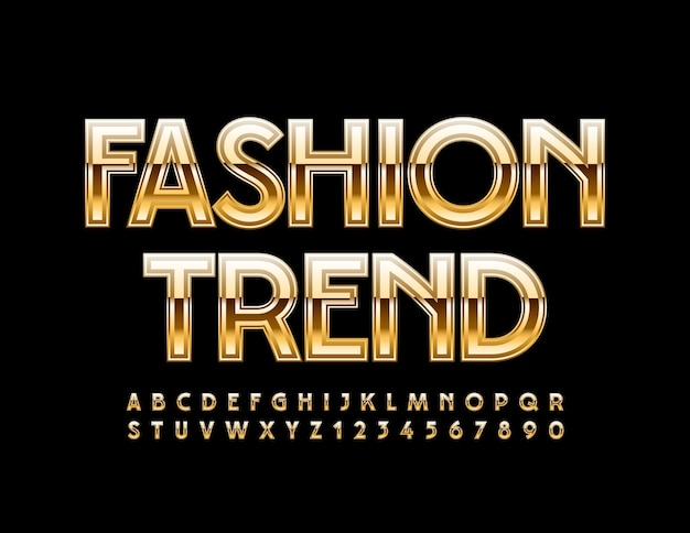Elegant fashion trend glossy golden alphabet letters and numbers set