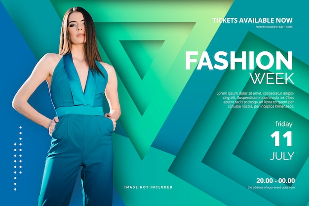 Elegant fashion week poster template