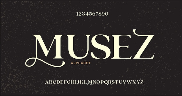 Elegant fashioned alphabet letters font and number. classic style