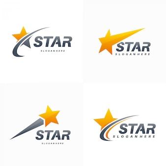 Elegant fast star logo set