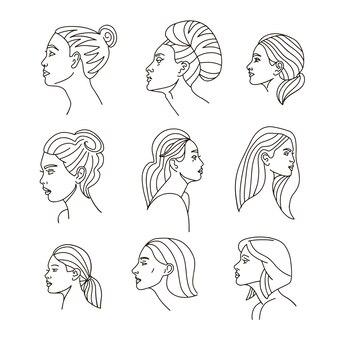 エレガントな女性の顔のコレクション