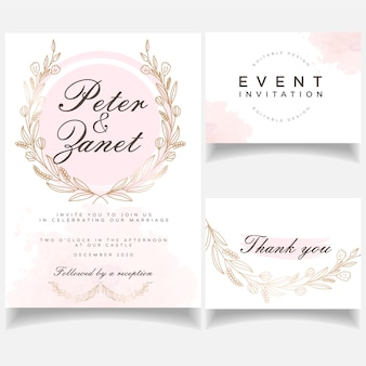 植物のエレガントなフェミニンなイベントの結婚式の招待カードセット