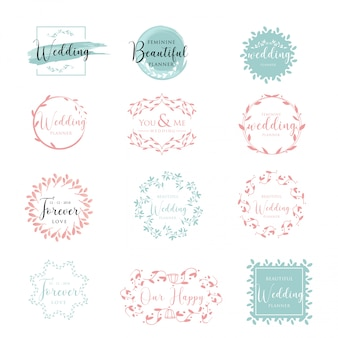 Elegant and feminine floral wedding logo collection