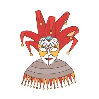 광대 또는 고립 된 할리퀸의 우아한 축제 마스크
