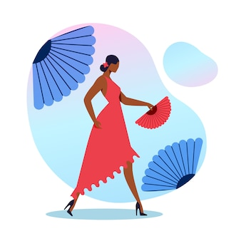 Elegant flamenco dancer flat illustration