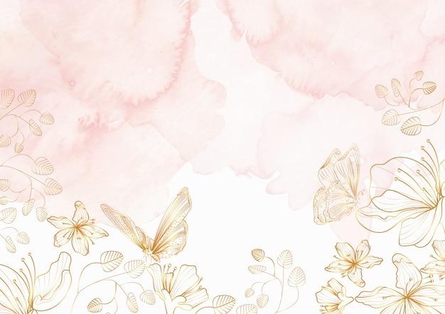 エレガントな花と蝶ラインアートの背景