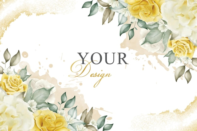 Elegant floral arrangement background in yellow theme