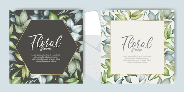Elegant floral arrangement wedding invitation set template