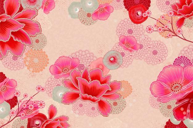 형광 핑크의 우아한 꽃 배경 디자인