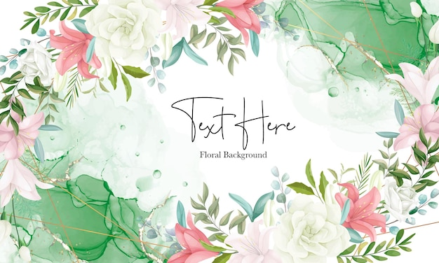 Elegant floral background with hand drawing soft flower and leaves
