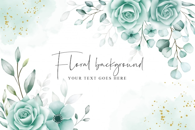 Elegant floral background with watercolor eucalyptus