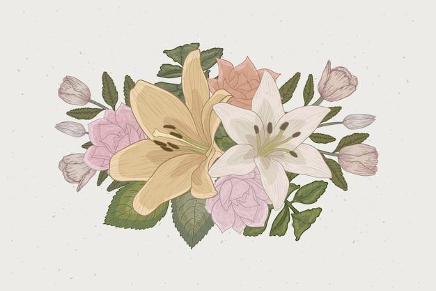 Elegante bouquet floreale dal design vintage