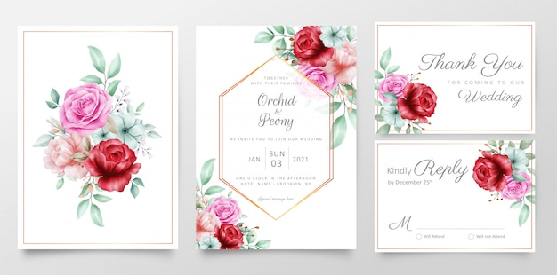 Elegant floral bouquet wedding invitation cards template set