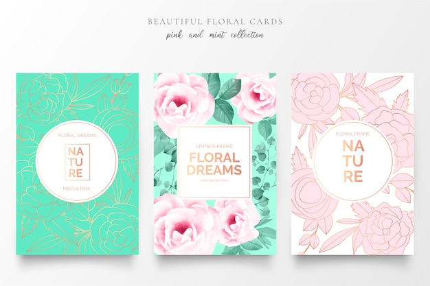 Elegant floral cards in pink and mint colors