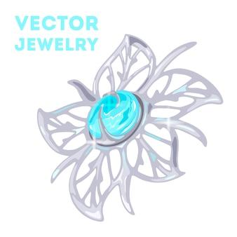 Elegant floral carved platinum white golden or silver brooch charm