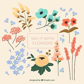 フラットデザインのエレガントな花の要素のコレクション