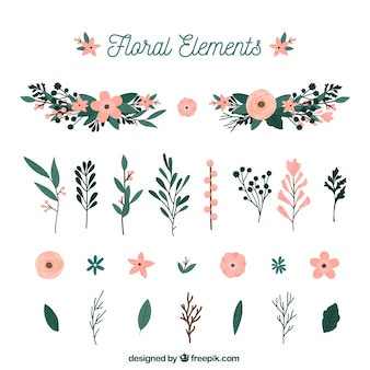 Elegant floral element collection with flat design