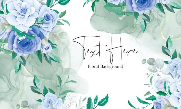 青い花飾りとエレガントな花のフレームの背景