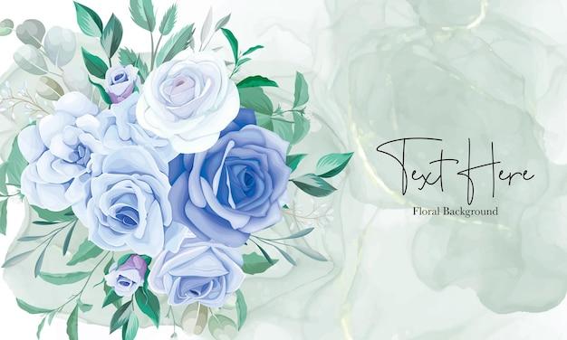 Elegant floral frame background with blue flower ornament
